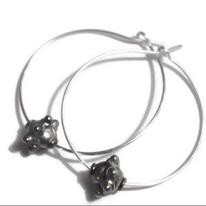 925 sterling silver bali beaded hoop earrings